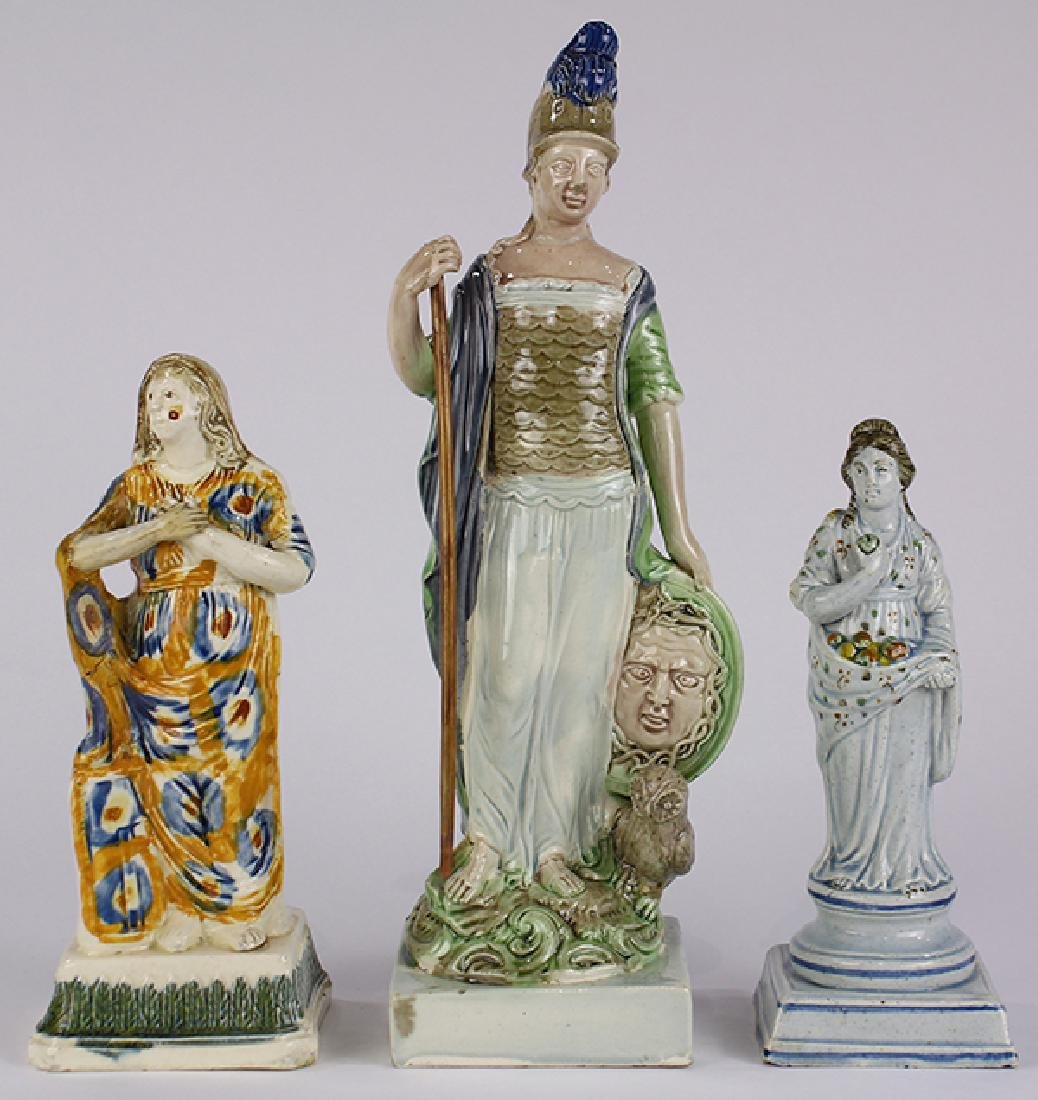 (lot of 3) Staffordshire Pearlware female figures 18th