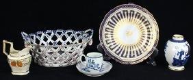 (Lot of 5) English soft paste porcelain group,