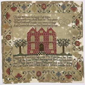 British silk on wool canvas sampler, dated 1768, signed