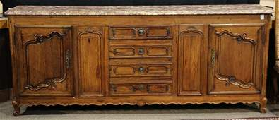 French Provincial carved oak marble top buffet Normandy
