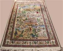 Persian Tabriz Pictorial carpet depicting a village