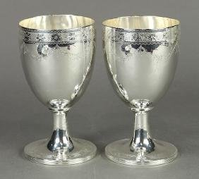 English George III sterling silver goblets, by Robert