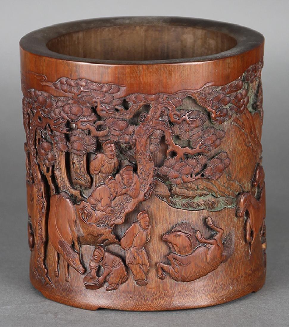 Chinese Bamboo Brush Pot, Horses