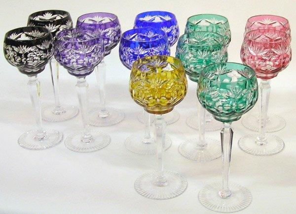 6018: Wheelcut Colored Hock glasses