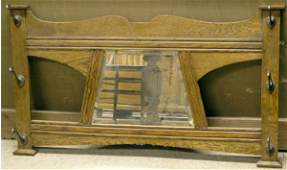 6298 British Arts and Crafts Oak Mirror