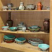 Three Shelves of Chinese Enameled Porcelain