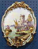 French porcelain wall sconce the crest form plaque