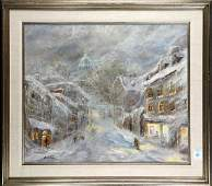 Painting, European Village Street Scene in Winter