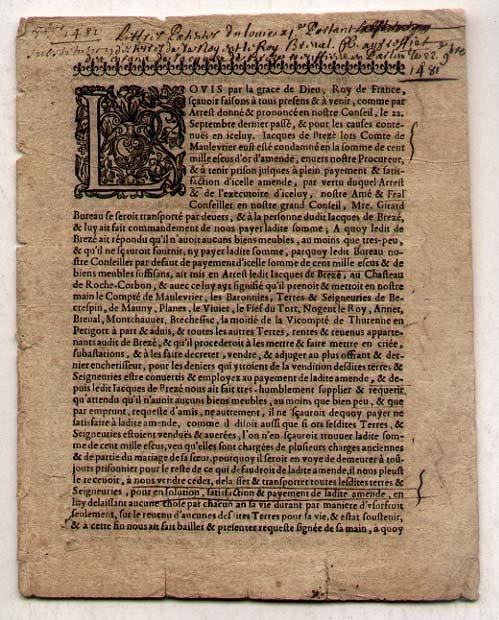 Rare 1481 French Edict