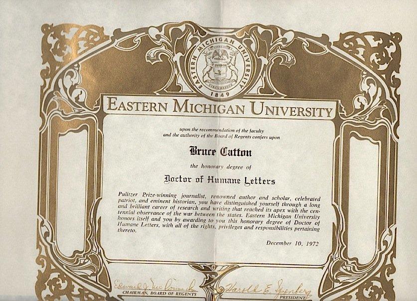 Bruce Catton Doctorate Eastern Michigan