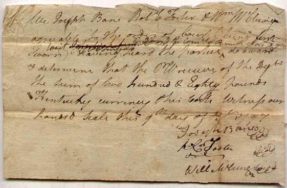 1797 Kentucky Pioneer Document