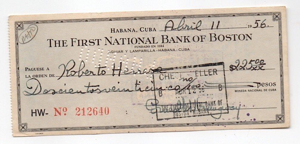 Hemingway Signed Bank Check Cuba 1956