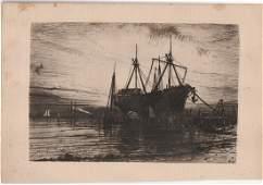 SUNSET, GOWANUS BAY 1880 etching