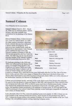 Samuel Colman (1832-1920) American Painter