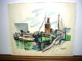 Boston Harbor Scene - Watercolor