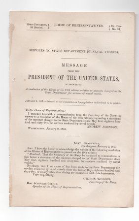 President Andrew Johnson - 1867 Gov. Document