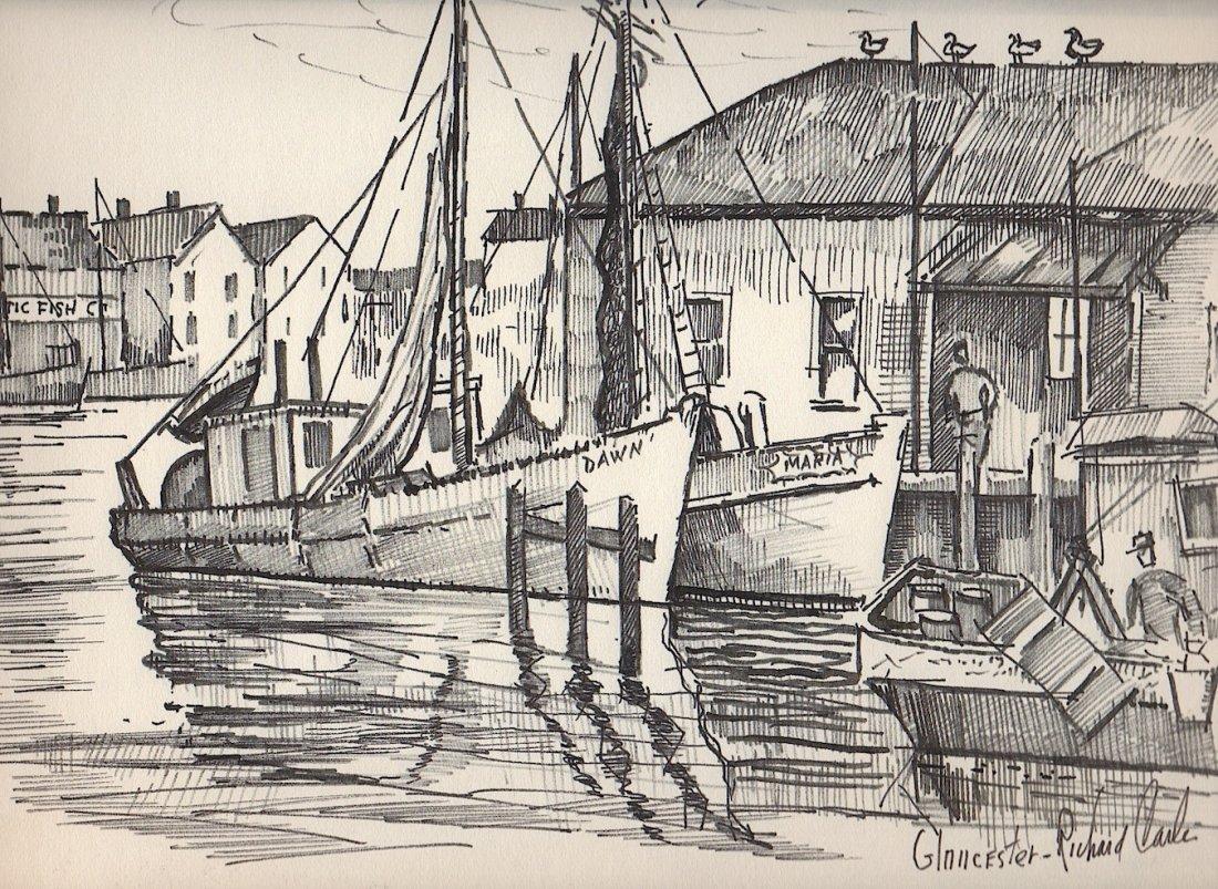 Richard Carle Nice Gloucester Harbor Scene