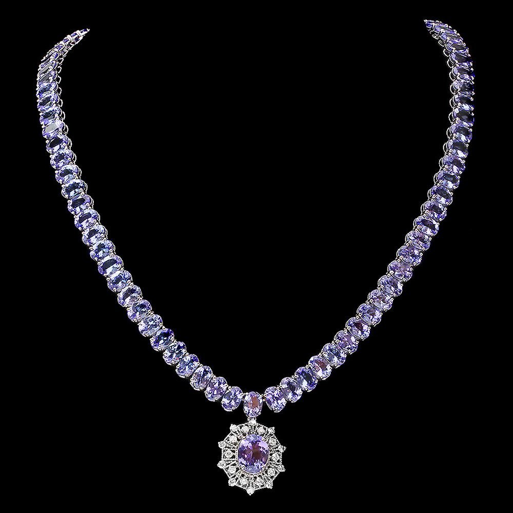 14k Gold 73ct Tanzanite 0.80ct Diamond Necklace