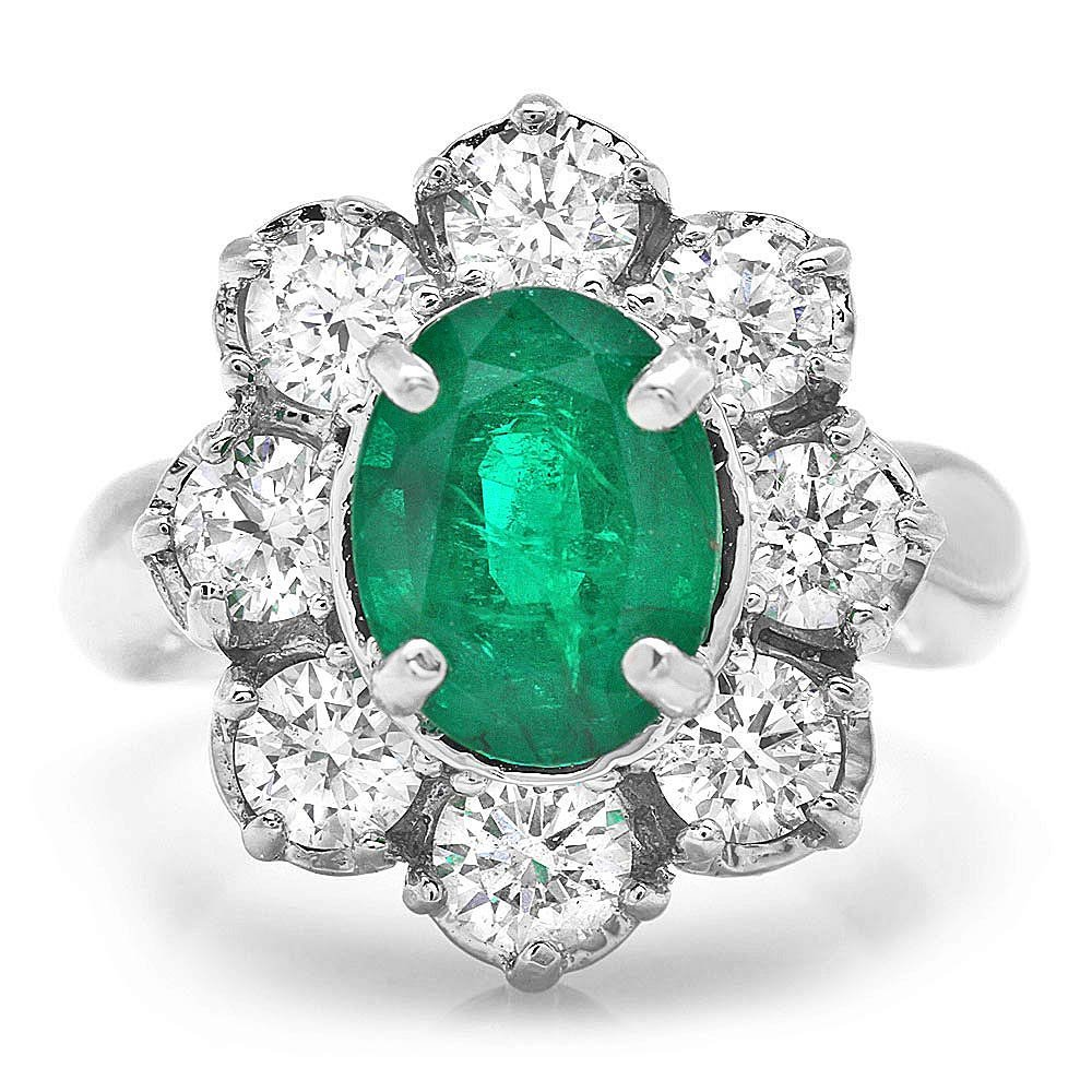 14k White Gold 3.00ct Emerald 1.90ct Diamond Ring