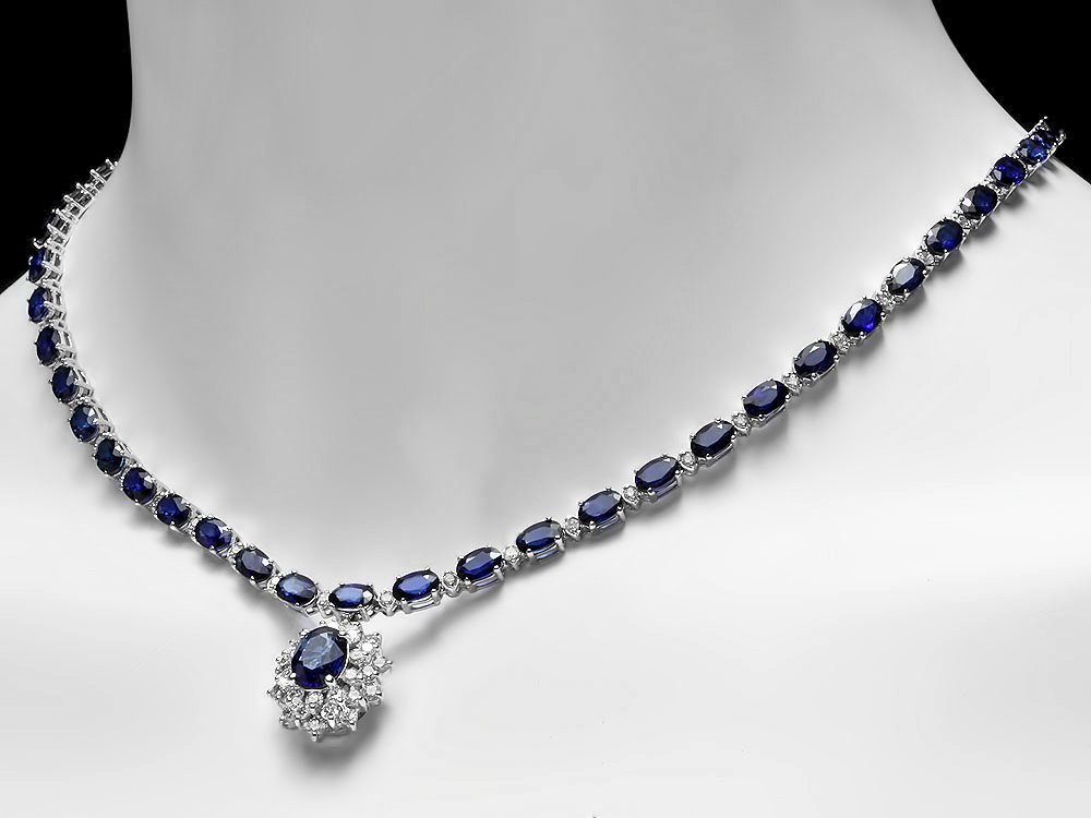 14k Gold 29ct Sapphire 2.80ct Diamond Necklace
