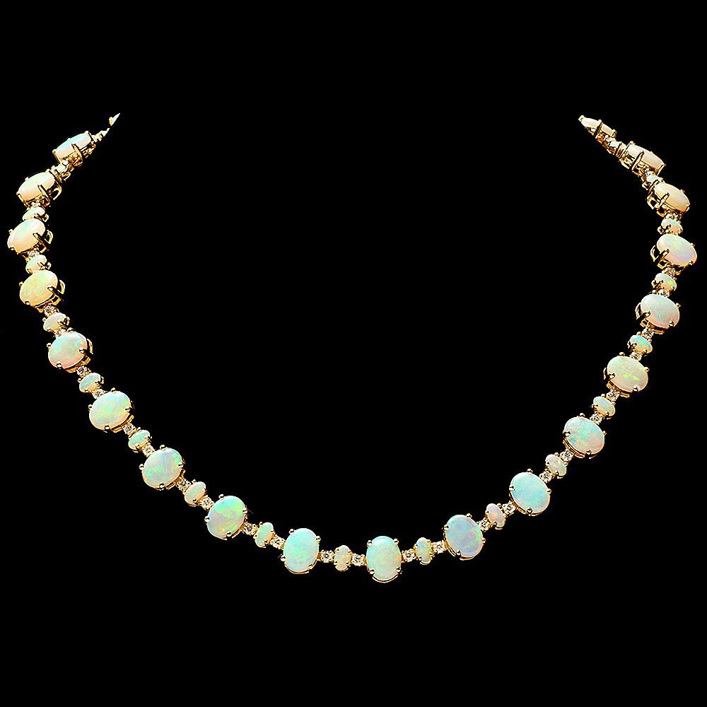 14k Yellow Gold 28ct Opal 2.50ct Diamond Necklace