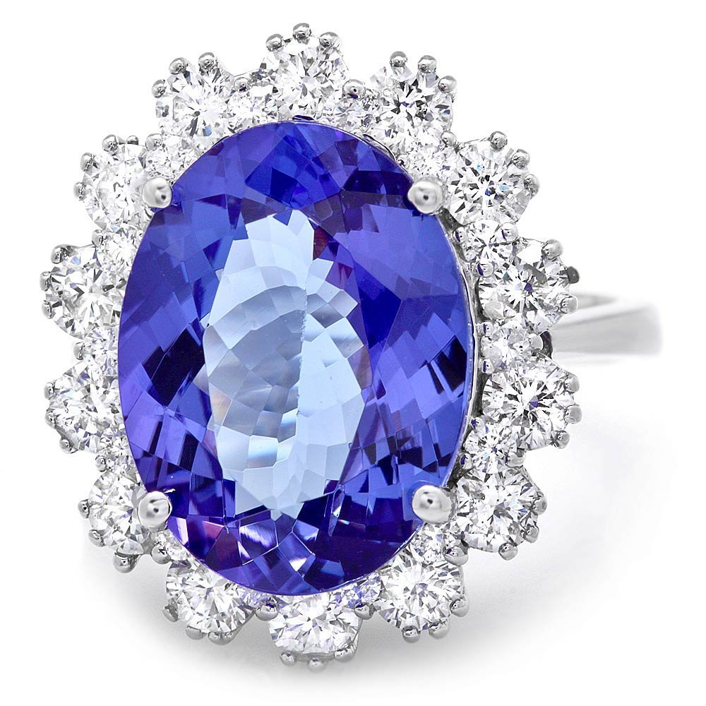 14k Gold 8.00ct Tanzanite 1.90ct Diamond Ring