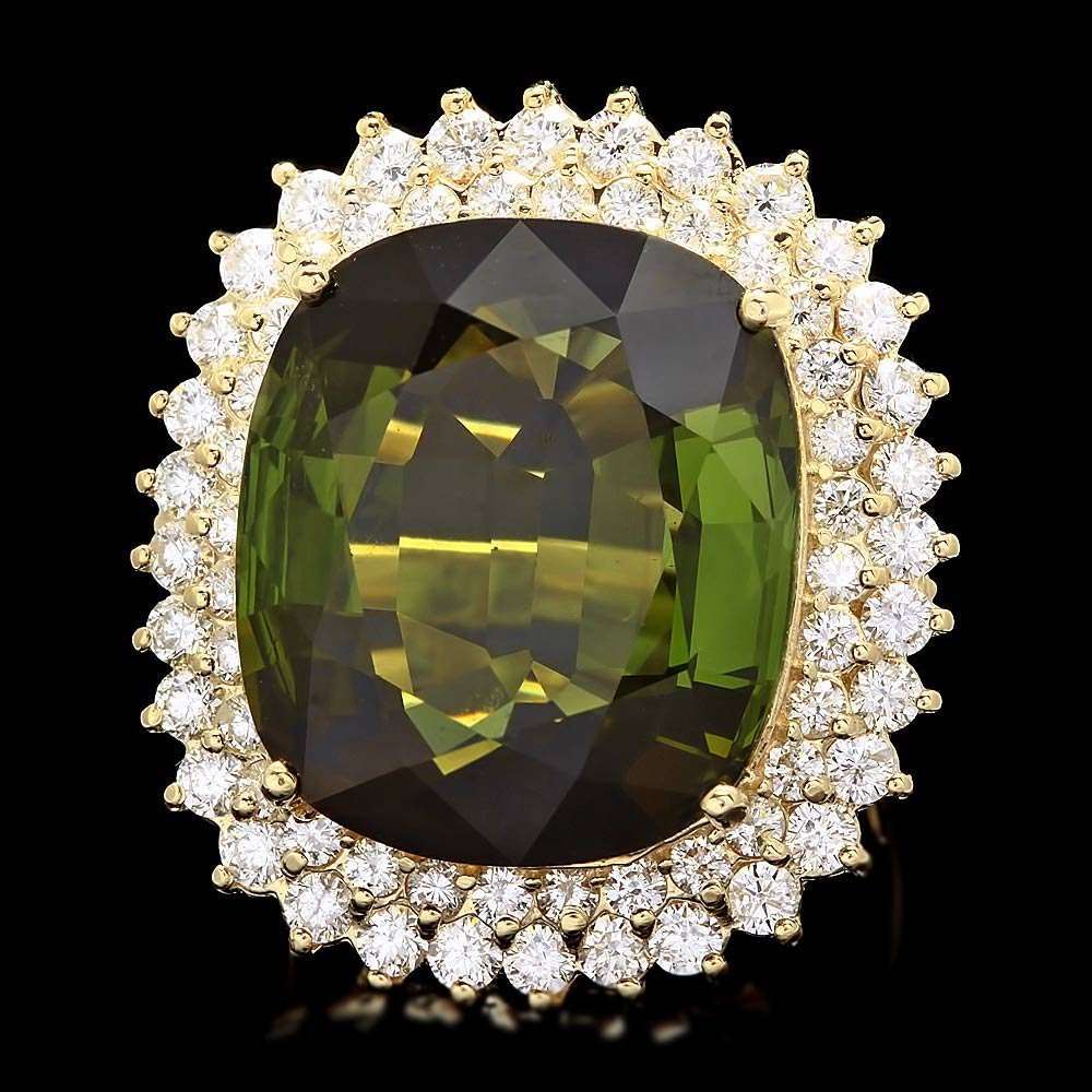 14k Gold 30ct Tourmaline 2.50ct Diamond Ring