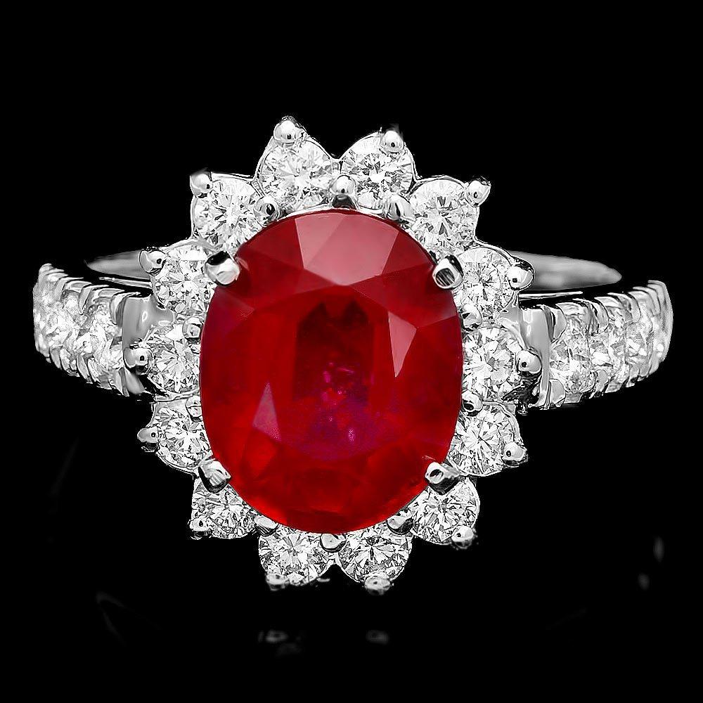 14k White Gold 4.00ct Ruby 1.00ct Diamond Ring