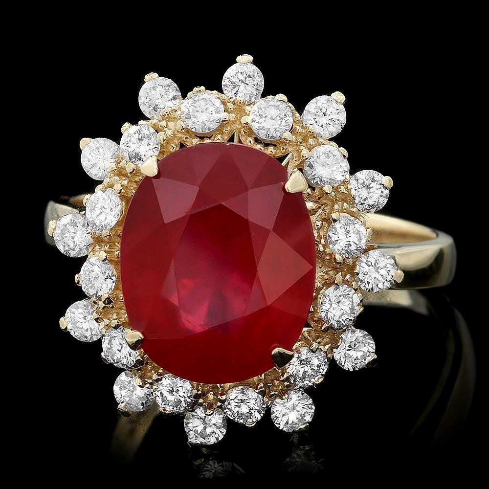 14k Yellow Gold 5.00ct Ruby 0.65ct Diamond Ring