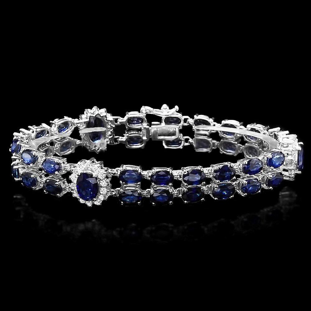 14k Gold 22ct Sapphire 1.50ct Diamond Bracelet