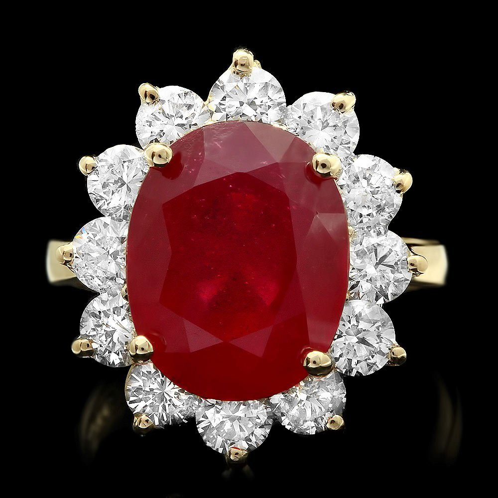14k Yellow Gold 8.00ct Ruby 2.00ct Diamond Ring