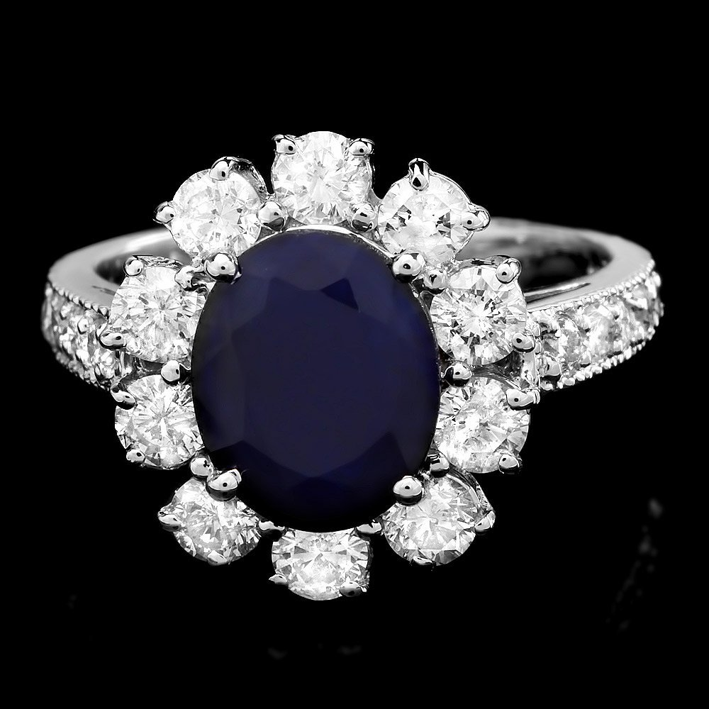 14k White Gold 2.60ct Sapphire 1.5ct Diamond Ring
