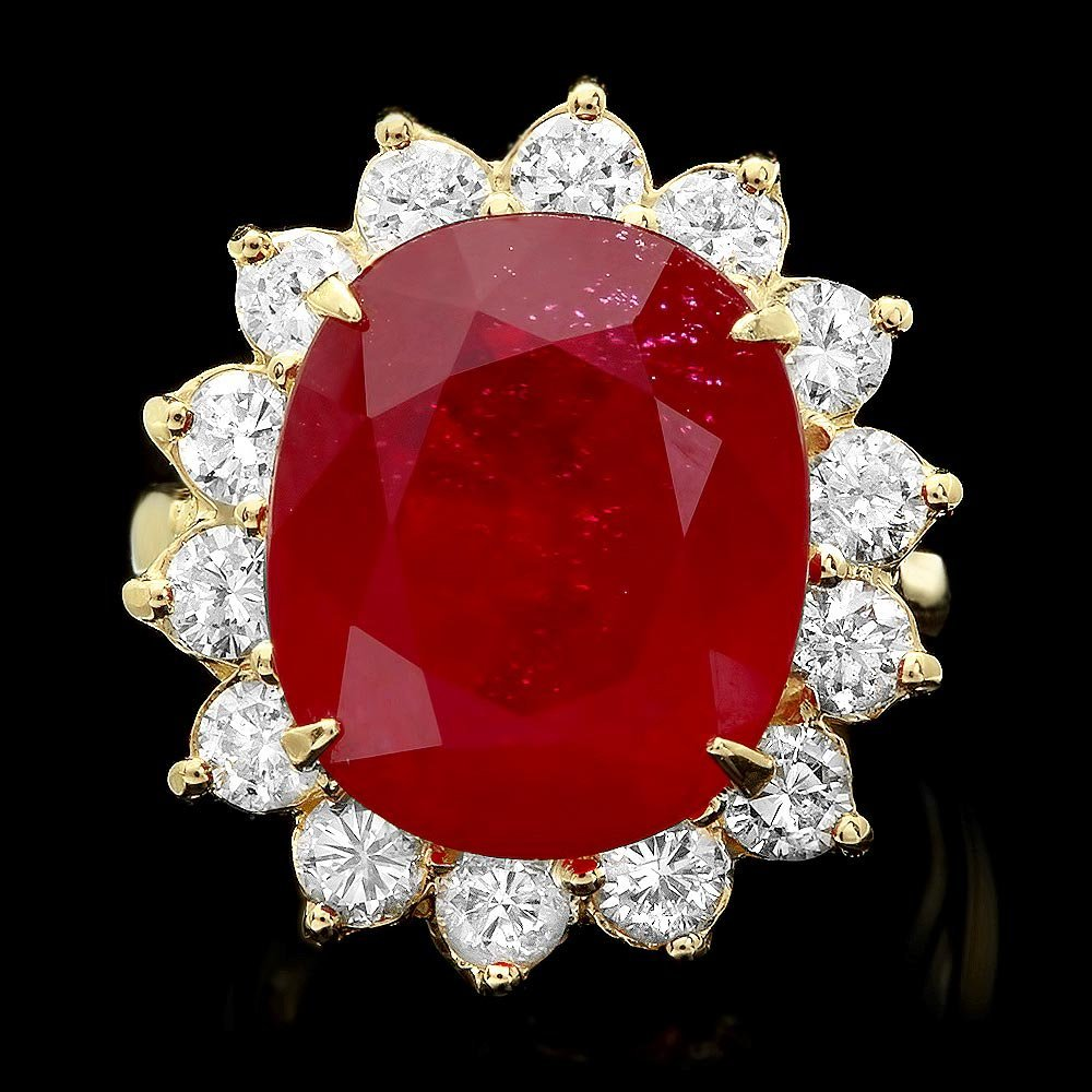 14k Yellow Gold 15.00ct Ruby 1.80ct Diamond Ring