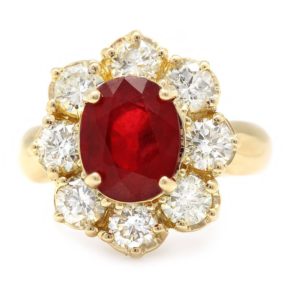14k Yellow Gold 4.00ct Ruby 2.25ct Diamond Ring