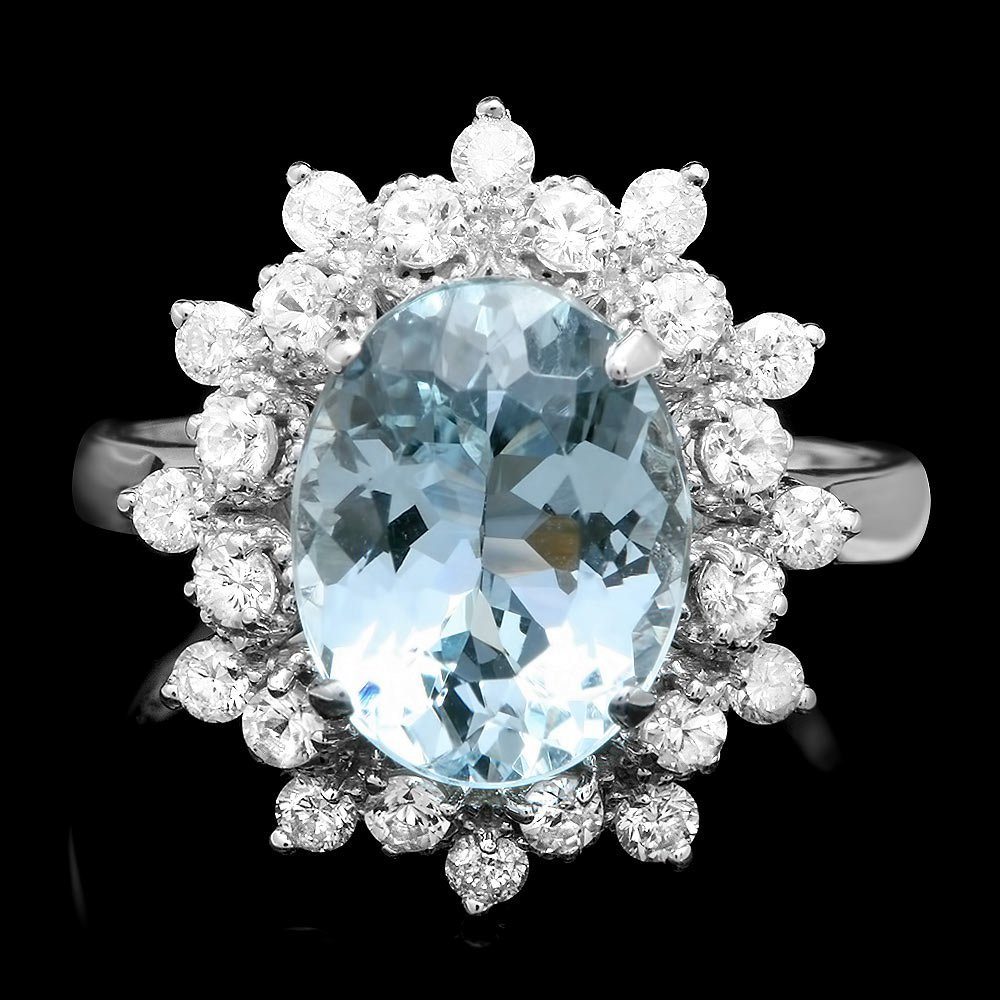 14k Gold 3.00ct Aquamarine 0.75ct Diamond Ring