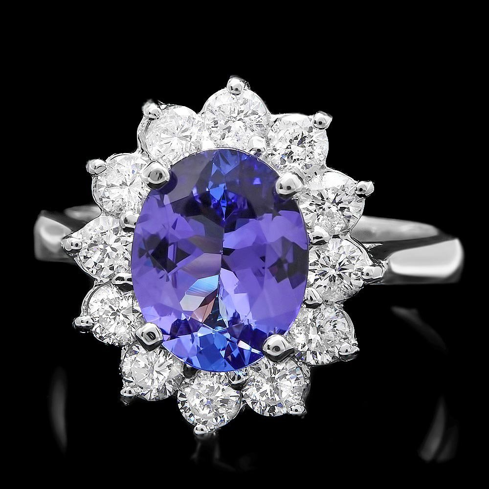 14k Gold 2.10ct Tanzanite 1.00ct Diamond Ring