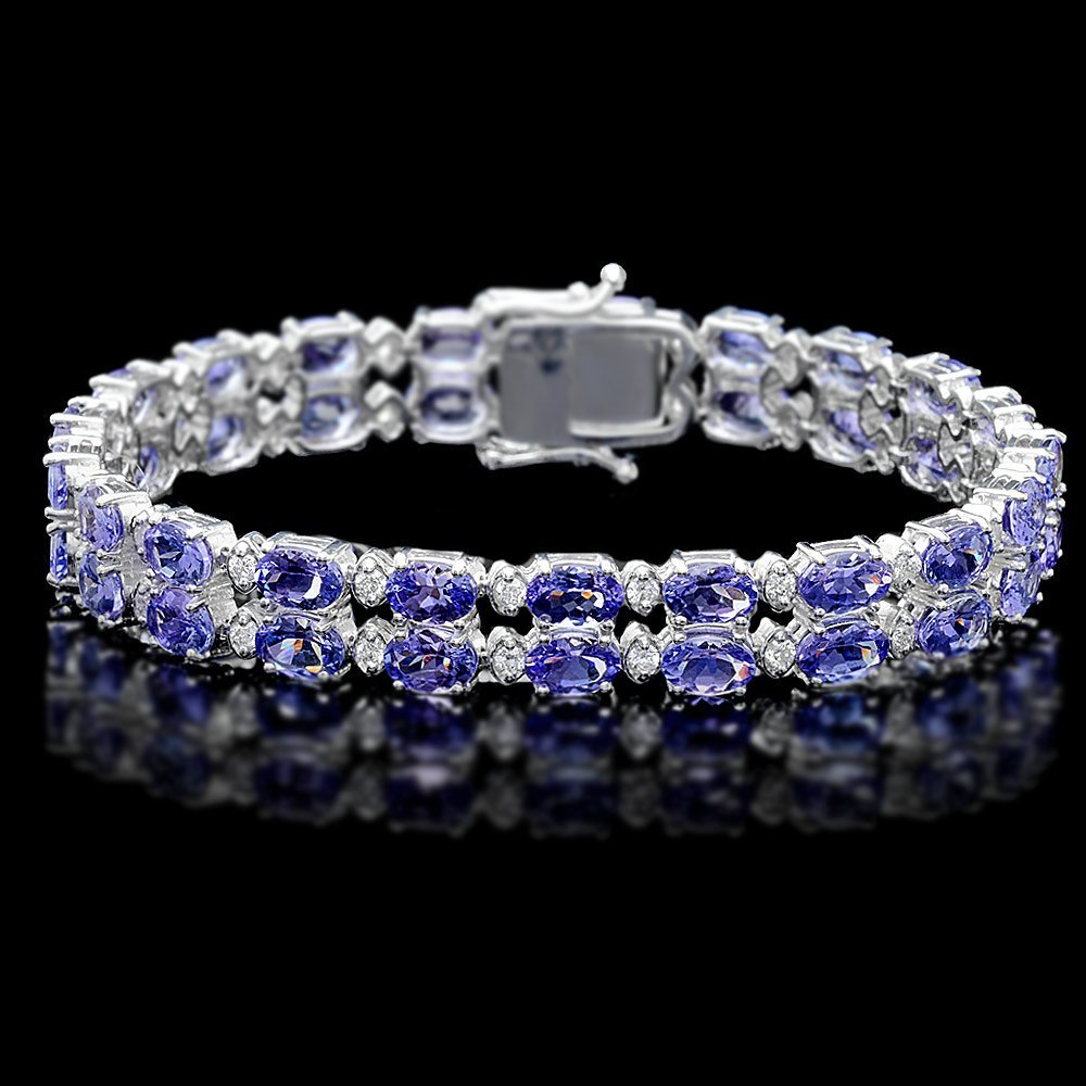 14k 20.00ct Tanzanite 1.30ct Diamond Bracelet