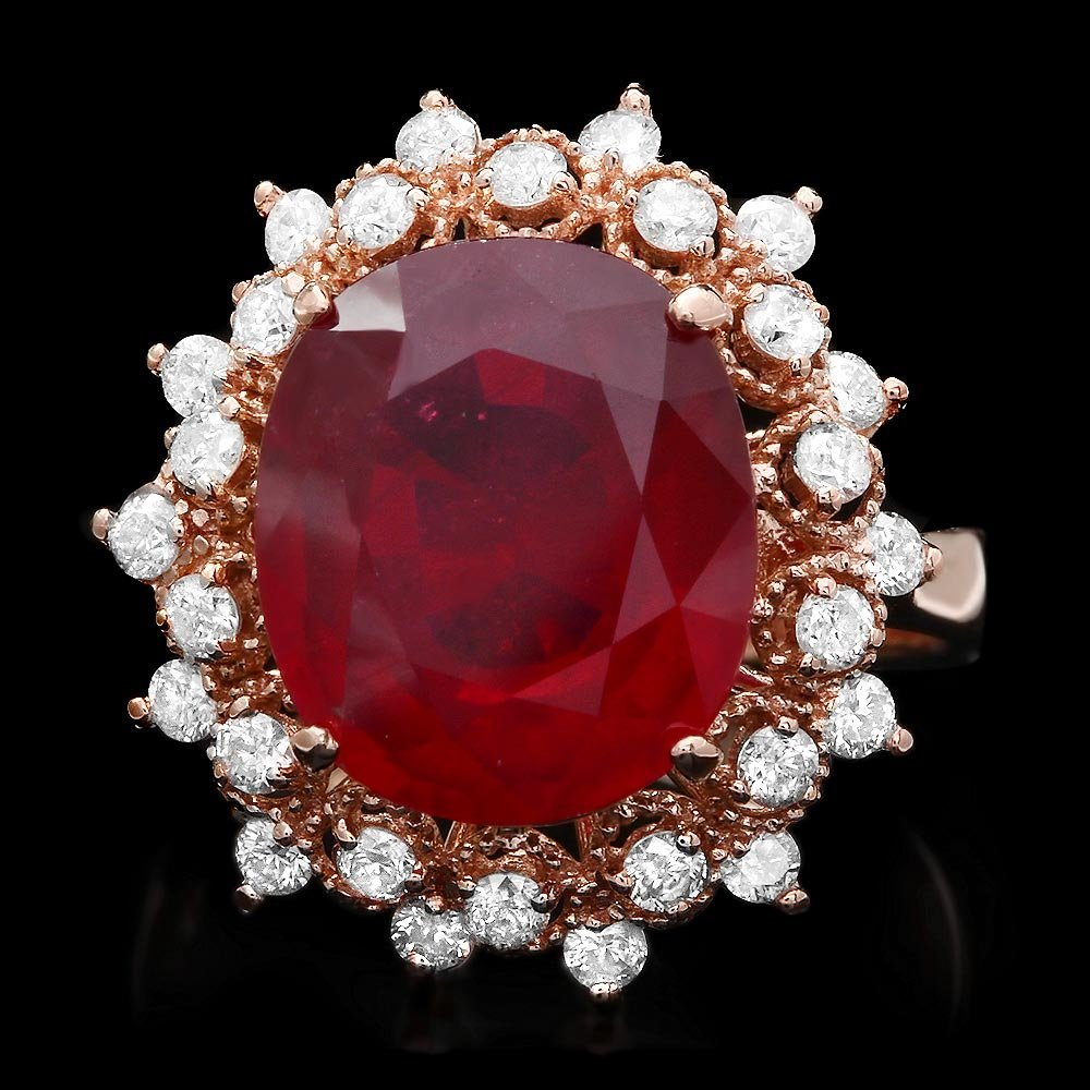 14k Rose Gold 8.50ct Ruby 1.00ct Diamond Ring