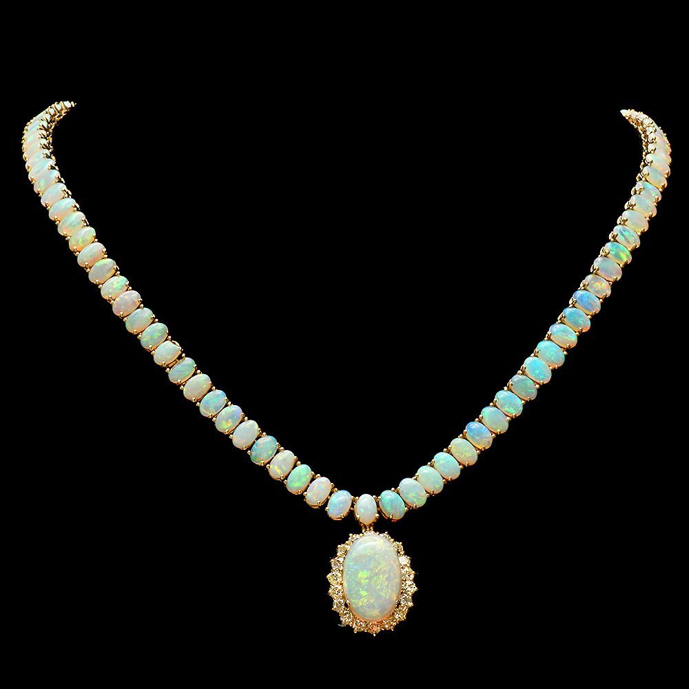 14k Yellow Gold 32ct Opal 1.60ct Diamond Necklace
