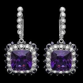 14k Gold 14ct Amethyst 1.15ct Diamond Earrings
