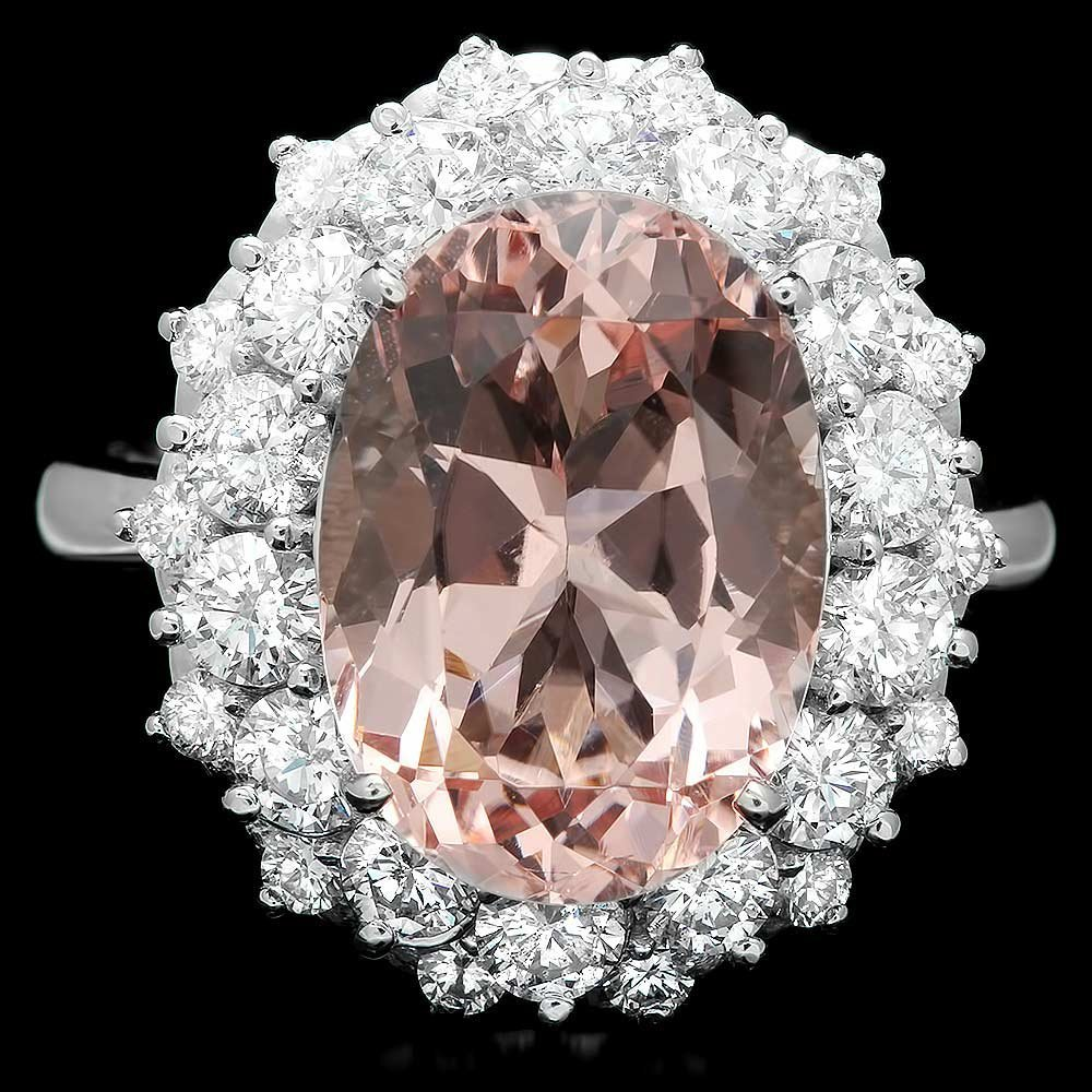 14k Gold 6.00ct Morganite 1.80ct Diamond Ring