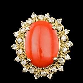 14k Yellow Gold 3.50ct Coral 0.60ct Diamond Ring