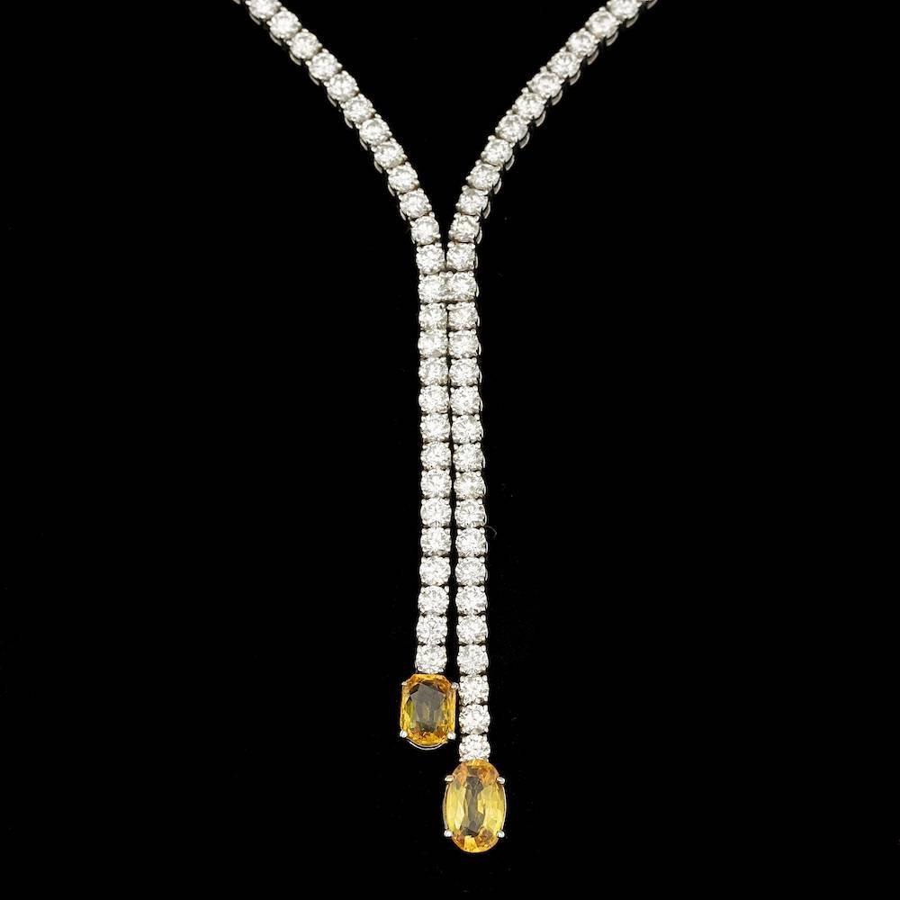 18k Gold 3.00ct Sapphire 9.30ct Diamond Necklace