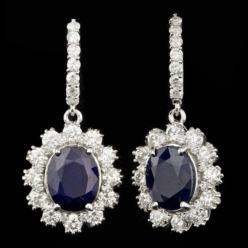 14k Gold 7.00ct Sapphire 2.80ct Diamond Earrings
