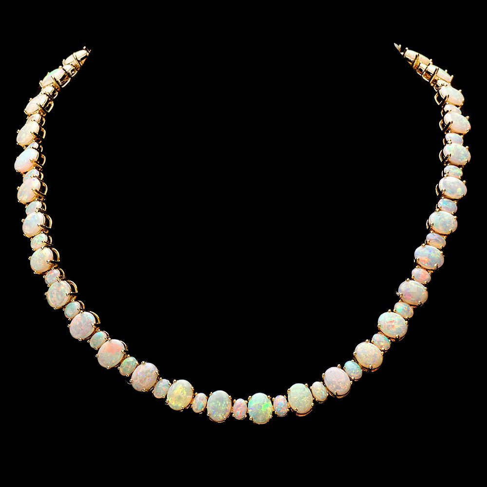 14k Yellow Gold 42.50ct Opal   Necklace
