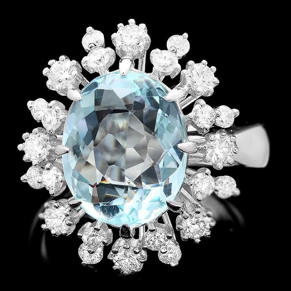 14k Gold 6.50ct Aquamarine 1.15ct Diamond Ring