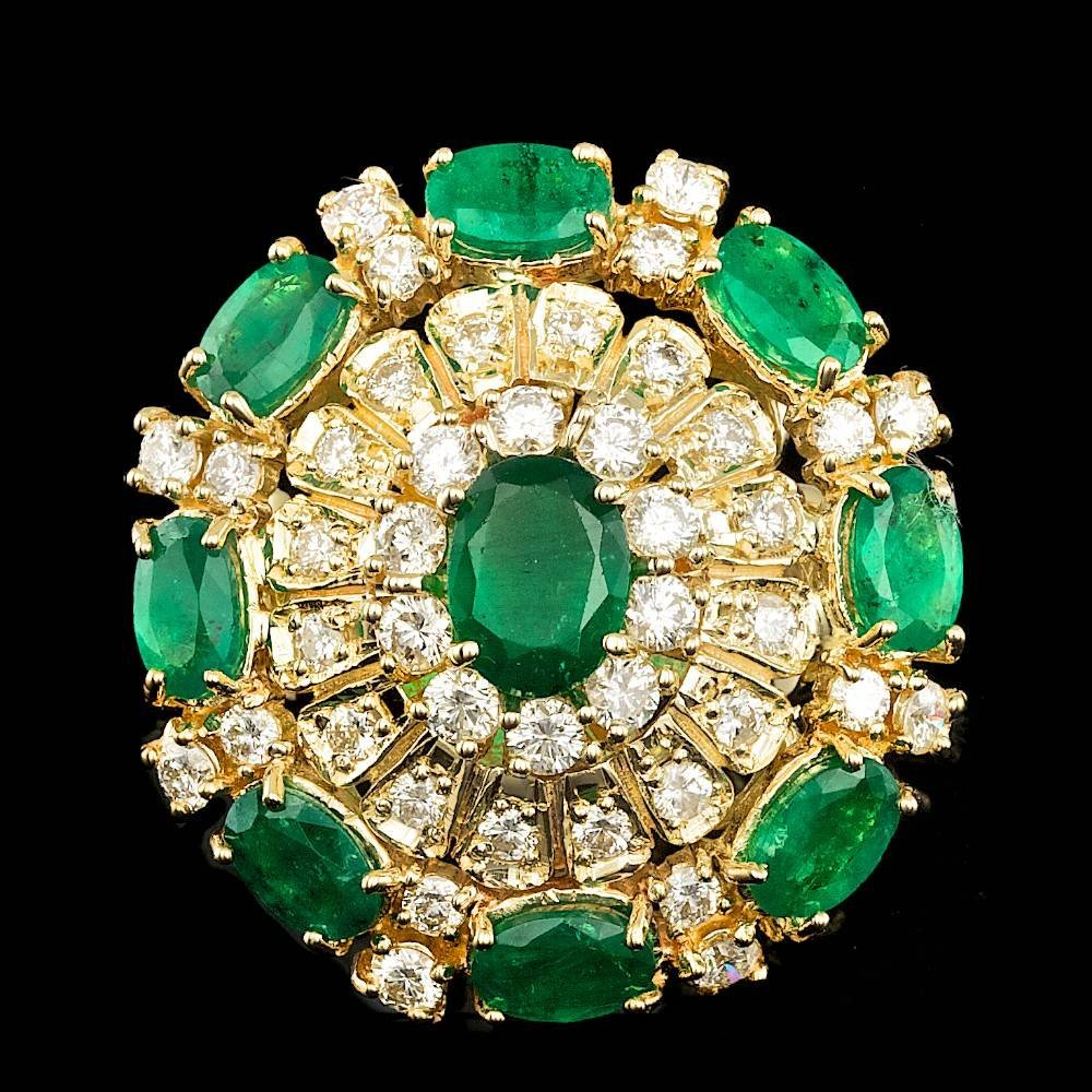 14k Gold 5.00ct Emerald 2.00ct Diamond Ring