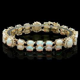 14k Yellow Gold 18ct Opal 1.10ct Diamond Bracelet