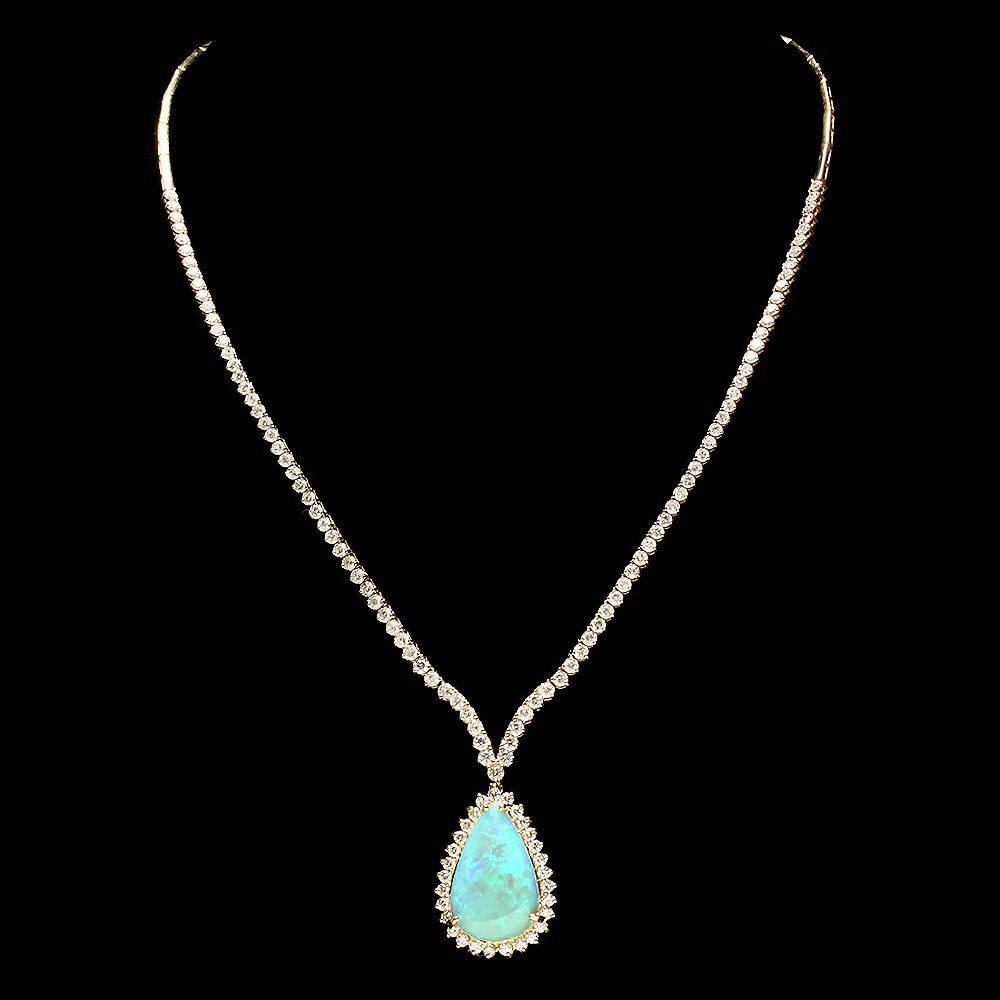 14k Gold 9.00ct Opal 6.50ct Diamond Pendant