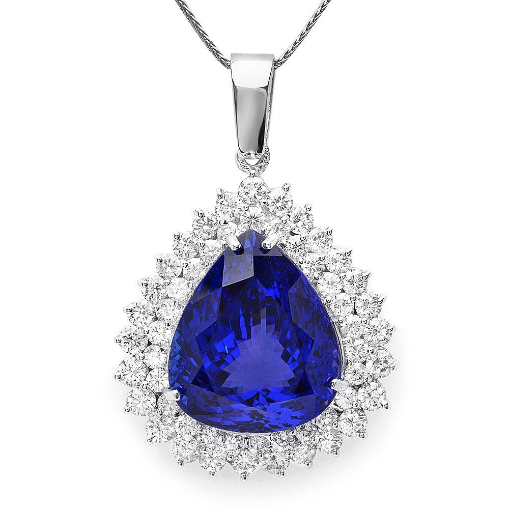 14k Gold 22ct Tanzanite 2.70ct Diamond Pendant